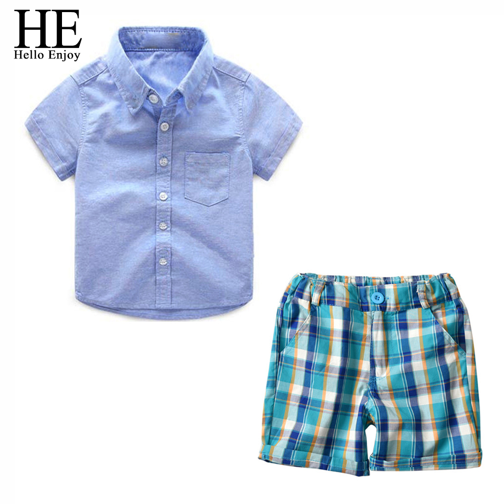 HE Hello Enjoy Kids Clothes For Boys New Summer Short Sleeve Shirts+Plaid Shorts 2pcs Formal Baby Suits Fashion Children Sets baby boys kids formal suits summer boy gentleman clothes set short sleeve shirt gray overalls trousers outfit for children