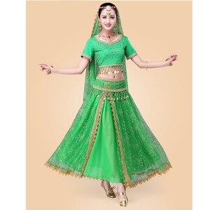 Image 4 - 인도 댄스 의상 볼리우드 드레스 사리 댄스웨어 여성/어린이 밸리 댄스 의상 세트 7 개