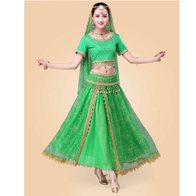 Indian Dance Costumes Bollywood Dress Sari Dancewear Women Children Belly Dance Costume Set 7 pieces in Belly Dancing from Novelty Special Use