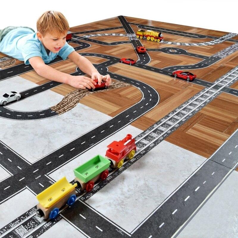 11 stücke Road Set Eisenbahn Straße Washi Band Aufkleber Breite Kreative Verkehrs Straße Abdeckklebeband Scotch Straße für Kid spielzeug Auto Spielen