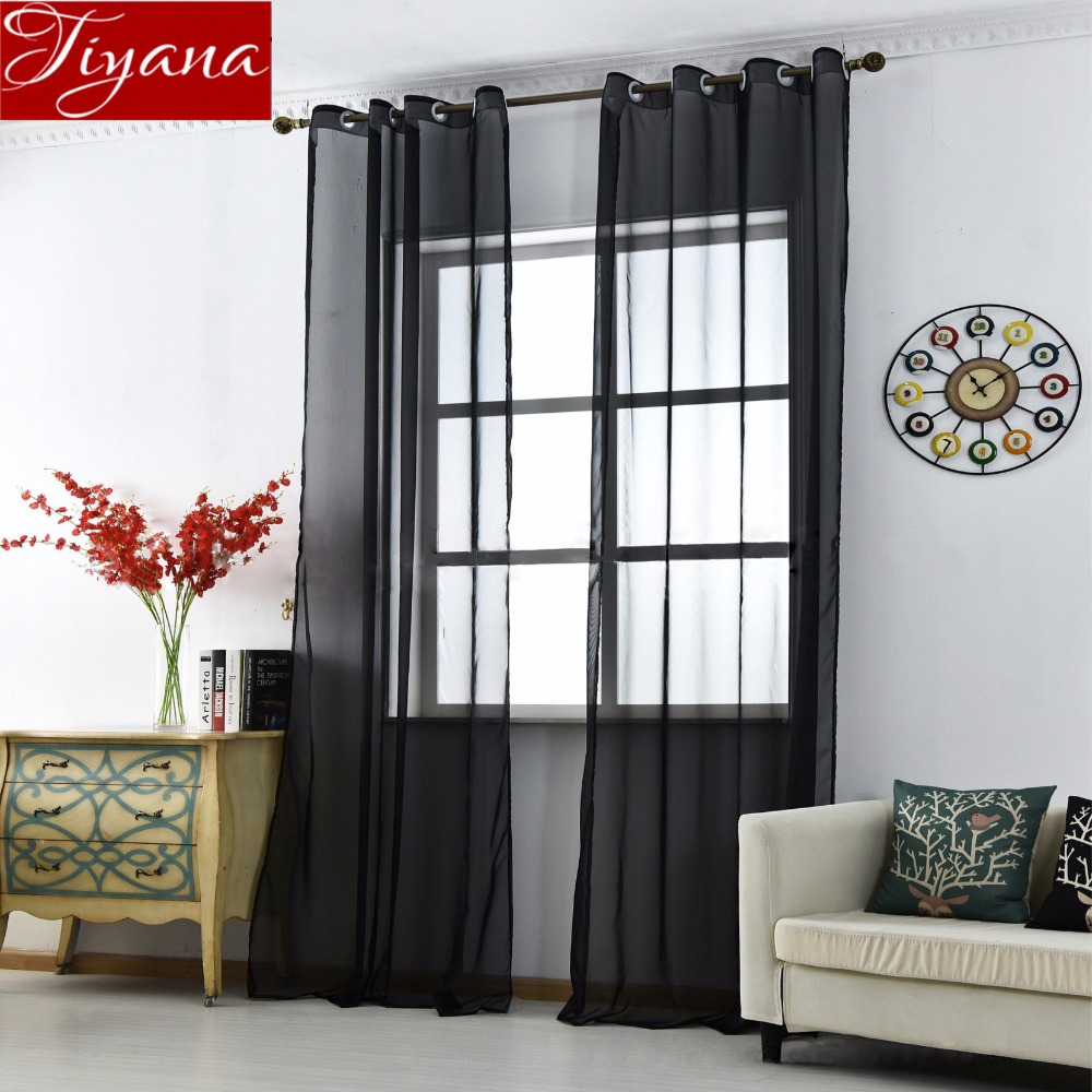 Black Curtains Solid Voile For Living Room Window Bedroom Kitchen Tulle Sheer Fabrics Cortinas Rideaux Eyelets T&184 #30