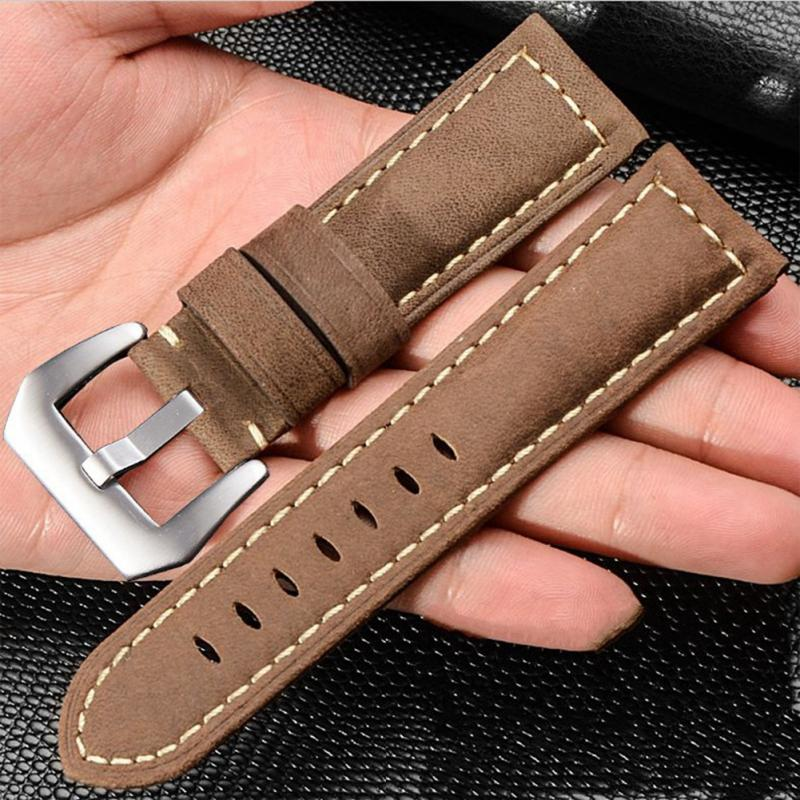 4Colors Fashion 26mm Genuine Leather Watch Strap Pin Buckle Wristwatch Band