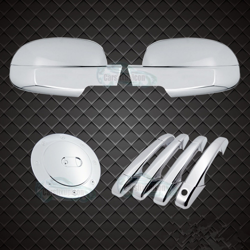 XYIVYG ABS Chrome 4 Door Handle+4PCS Mirror+ Gas Cover 07-14 For Chevy Suburban+Tahoe 4 pcs chrome plated abs door handle bowl for nissan qashqai