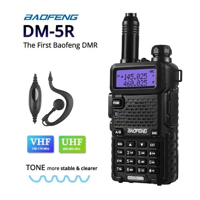 Dm-5r baofeng dual band rádio walkie taklie dmr digital transceptor 1 w 5 w vhf uhf 136-174/400-520 mhz rádio em dois sentidos 2000 mah
