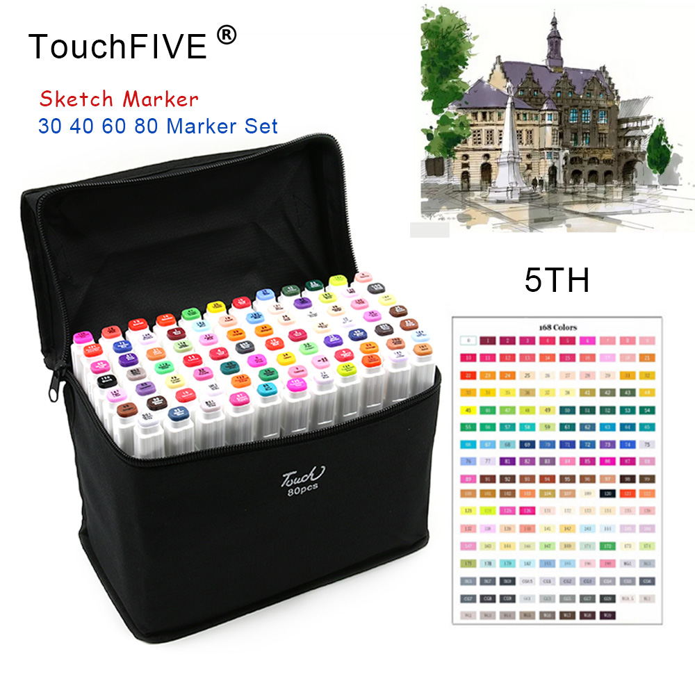 TouchFIVE 80 Color Sketch Markers Pen Oily Alcoholic Painting Manga Dual Headed Art Marker Set Stationery Pen For School Drawing touchfive 80 color sketch markers pen oily alcoholic painting manga dual headed art marker set stationery pen for school drawing page 7