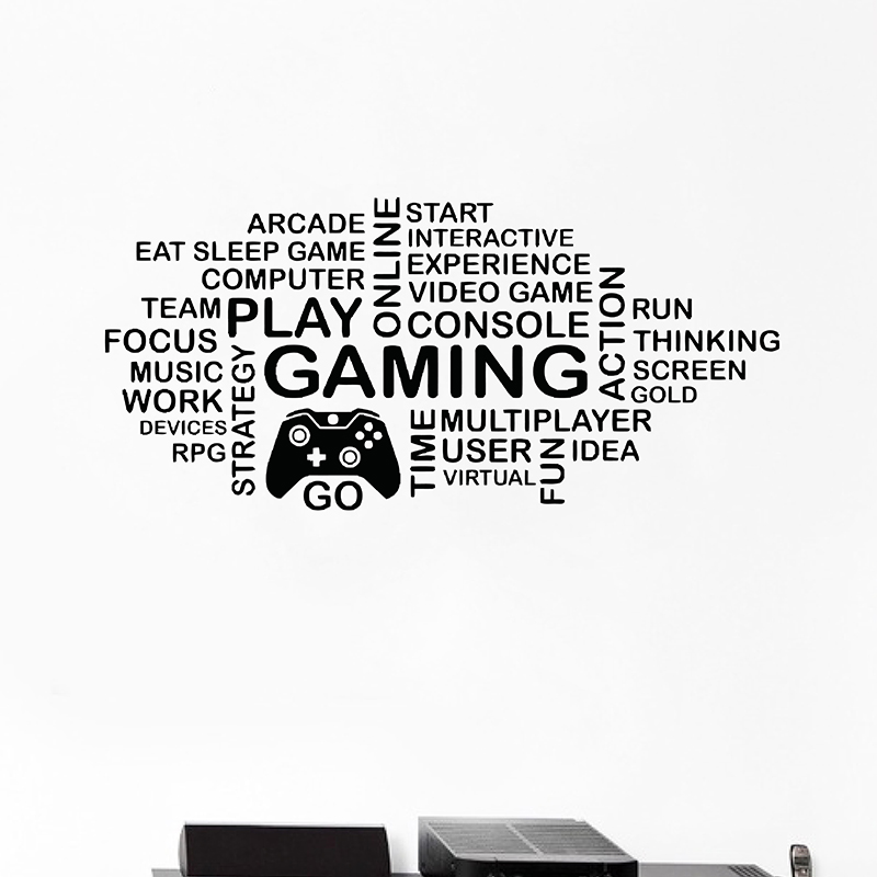 Game Handle Wall Stickers Art Decor Gamer Quote Gaming Posters Vinyl Wall Decals Parede Decor Mural Video Game Sticker