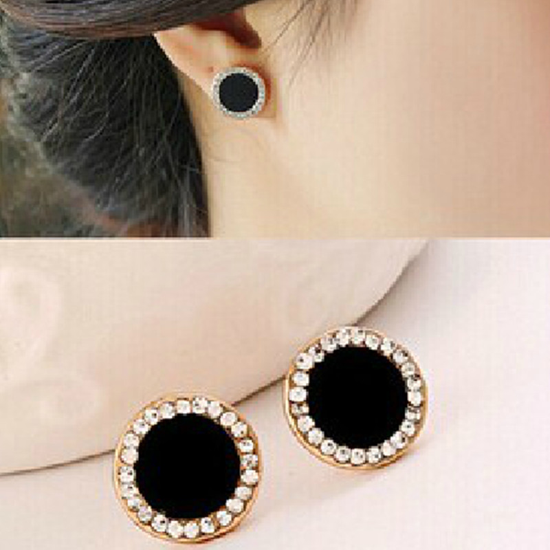 Black Round Button Earrings With Shiny Crystal  Stud Earrings Button Earrings Rhinestone Earrings For Women Fashion Gift E0415