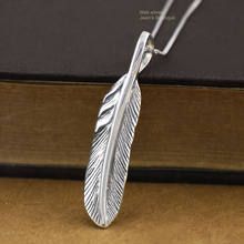 925 Sterling Silver Retro Punk Rocker Biker Feather Pendant Necklace cho Nam Giới Phụ Nữ A2017(China)