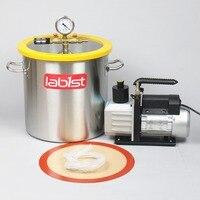 5.5 Gallon (21 Liter) Vacuum chamber Kit with 6CFM(2.7L/s) 220V Vacuum Pump, 30cm*30cm Stainless Steel Vacuum Degassing Chamber