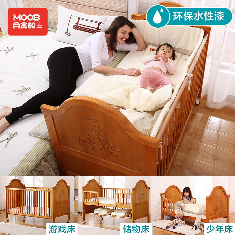 Newborn crib solid wood multifunctional crib variable children bed European baby bed game bed 0-9 years old european solid wood cribs solid wood children s bed baby bed multi purpose children s bed