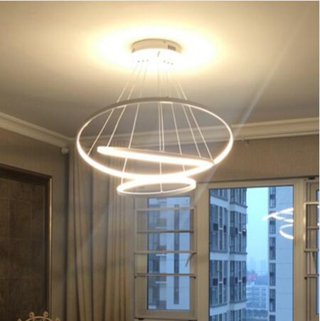 Modern Rings LED Pendant Lights for Living room Dining Room fixtures White Acrylic Circle Pendant Lamp Lustres Lamparas de techo a1 master bedroom living room lamp crystal pendant lights dining room lamp european style dual use fashion pendant lamps