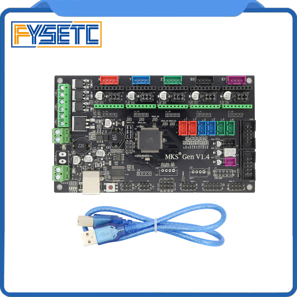 Latest 3D printer MKS Gen V1.4 control board Mega 2560 R3 motherboard RepRap Ramps1.4 compatible, with USB For 3d Printer mks gen v1 4 control board mega 2560 r3 motherboard reprap ramps1 4 compatible with usb and 5pcs a4988 for 3d printer