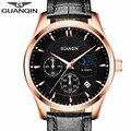 Мужские часы 2016 Роскошные Лучший Бренд Новая Мода GUANQIN Кварцевые Часы для Мужчин Водонепроницаемый Кожаный Ремешок Наручные Часы Reloj Hombre