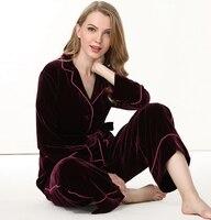 100% silk pajama set womens 2018 Warm Winter Thicken Silk Velvet Sleepwear Female High Quality Two Piece Long Sleeved Pant set