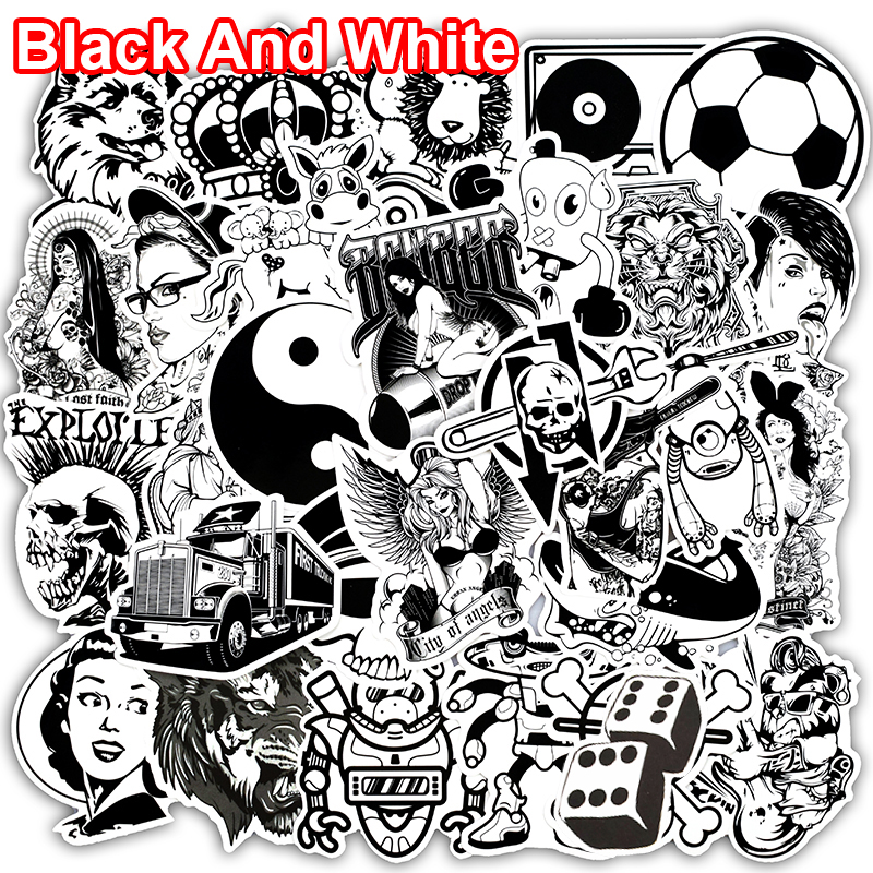 New 50 PCS Black and White Stickers for Laptop Phone Skateboard Luggage Car Styling Doodle Decal Styling PVC Waterproof Sticker 230 pcs rick and morty cartoon pvc waterproof sticker for luggage skateboard phone laptop moto trunk guitar car diy stickers