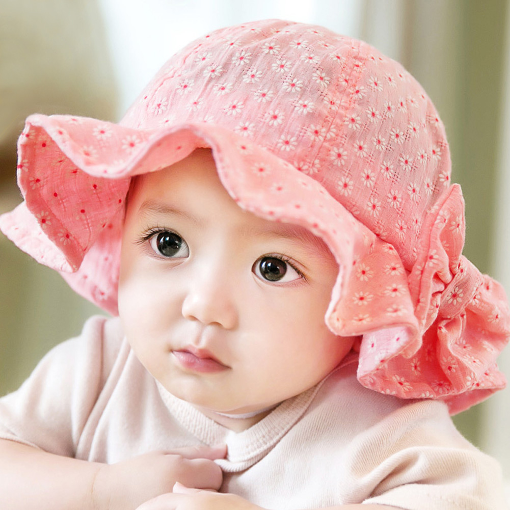 Baby Girl Pink Bucket Hat Toddler Infant Sun Cap Summer Outdoor Baby Girl  Summer Hat Bucket Hat Sweet Princess Girl Hat f595ed4fe03