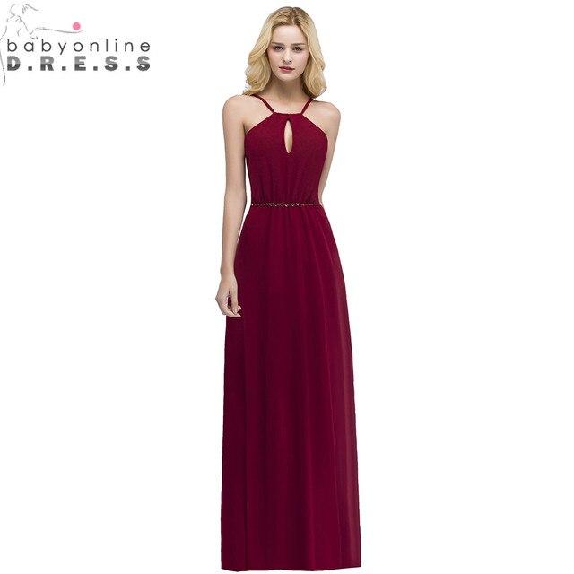 24 Hours Shipping Crystals Belt Burgundy Prom Dresses Long Vestido De Festa Sexy Backless Halter Neck Evening Party Dresses 1