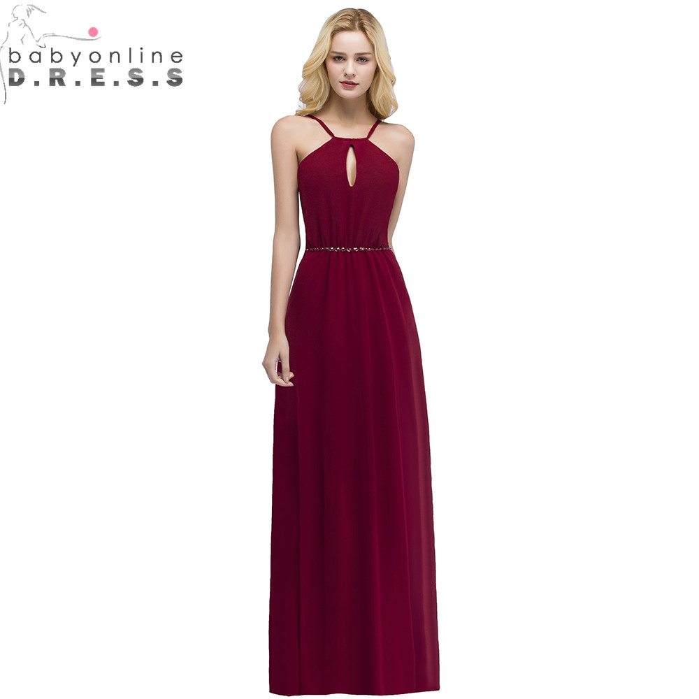 24 Hours Shipping Crystals Belt Burgundy Prom Dresses Long Vestido De Festa Sexy Backless Halter Neck Evening Party Dresses