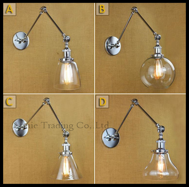 Moder High quality wall lighting living wall lamp Chrome Silver glass bedside Restaurant Room arm Wall sconces lights lampada modern wall lamp adjustable arm bedside reading lamp e27 wood iron wall lighting bedroom lights high quality wwl014