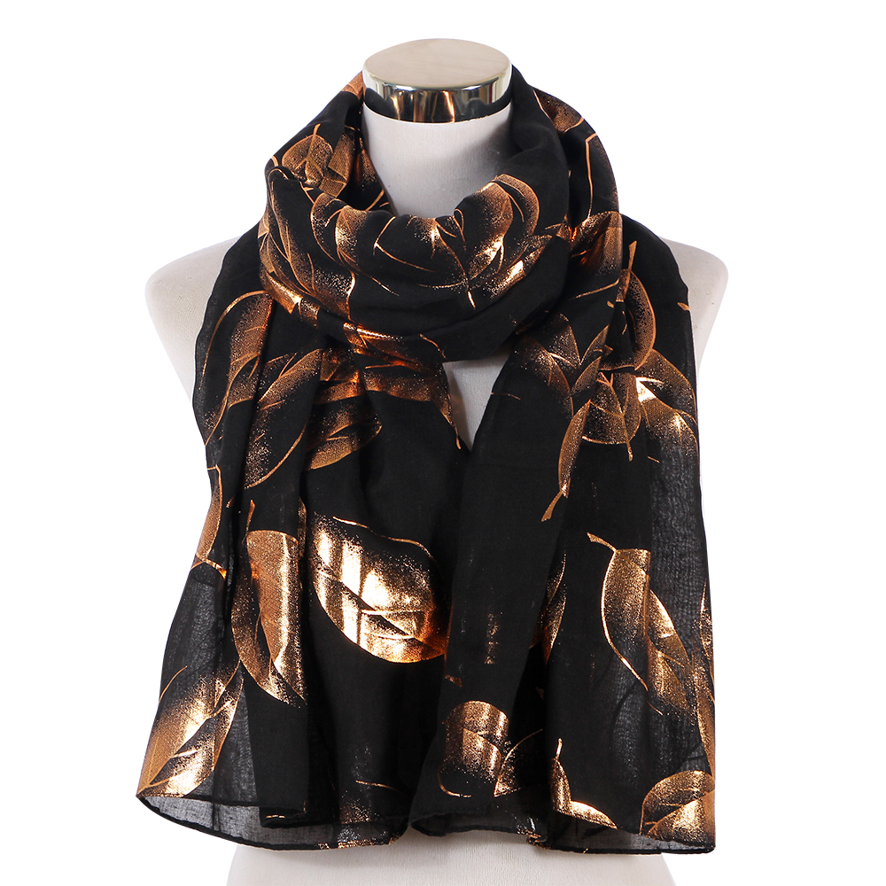 Fashion White Black Autumn Shiny Bronzing Foil Gold Leaf Print Scarfs Women Female Soft Long Shawl   Scarves   and   Wraps
