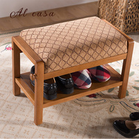 Newest European style solid wood shoe stool cabinet retro fabric cushion shoe rack ottoman bench home living room furniture