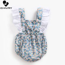 2019 Baby Girls Bodysuit Summer Sleeveless Bodysuit Bowknot Floral Print Cute Jumpsuit Newborn Baby Playsuit Infant Clothes недорого