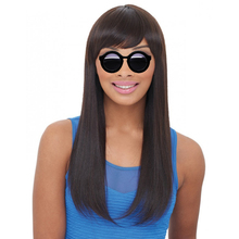 DLME Peruvian Hair Glueless Front Lace Wigs Silky Straight With Side Bangs Fringe Glueless Hand Tied Part No Shedding Synthetic