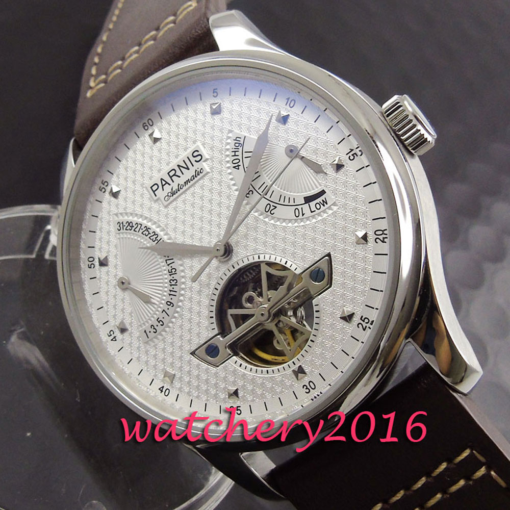 Parnis 43mm white dial stainless case power reserve wrist watches with date for men automatic self-winding Men's Watch hot sale 46mm parnis black dial power reserve white marks automatic men wrist watch page 2