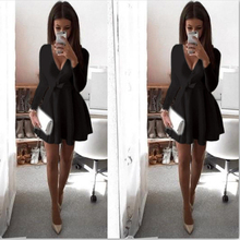 Sexy Long Sleeve Dress With Bow Black Deep V Sexy for Shemale & Crossdressers