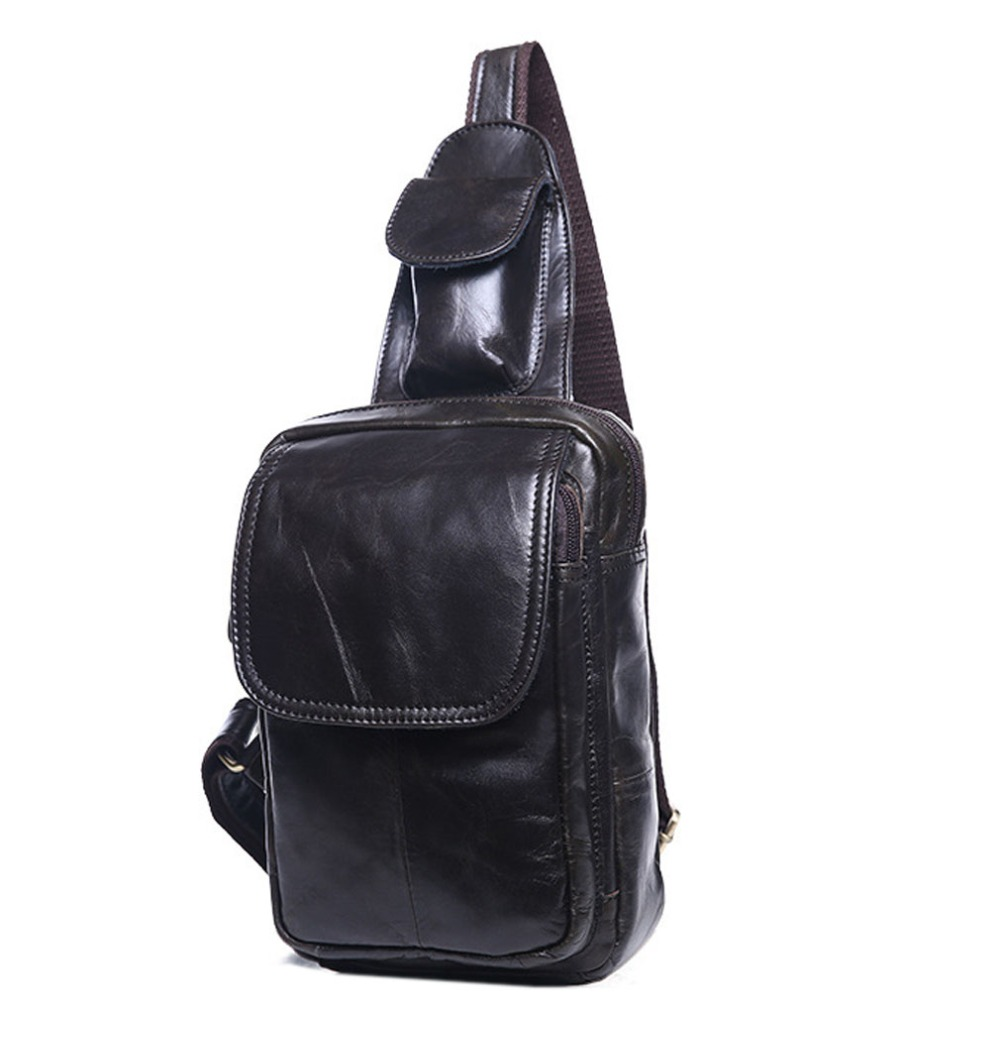 High Quality fashion Men Genuine Leather Cowhide Sling Chest Pack Messenger Shoulder Cross Body Bag Travel Climb Leisure package цена и фото