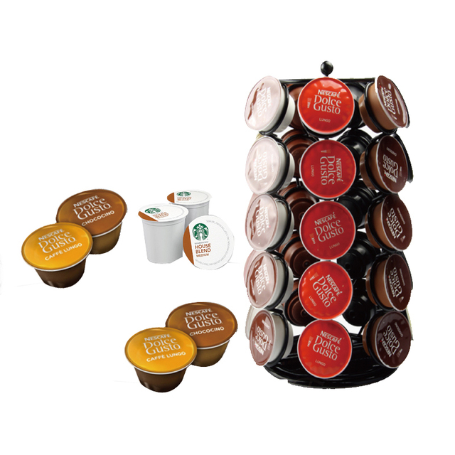 Ordinaire Black 35 K Cup Coffee Pod Storage Dolce Gusto Coffee Display Shelves  Rotating Stand Table