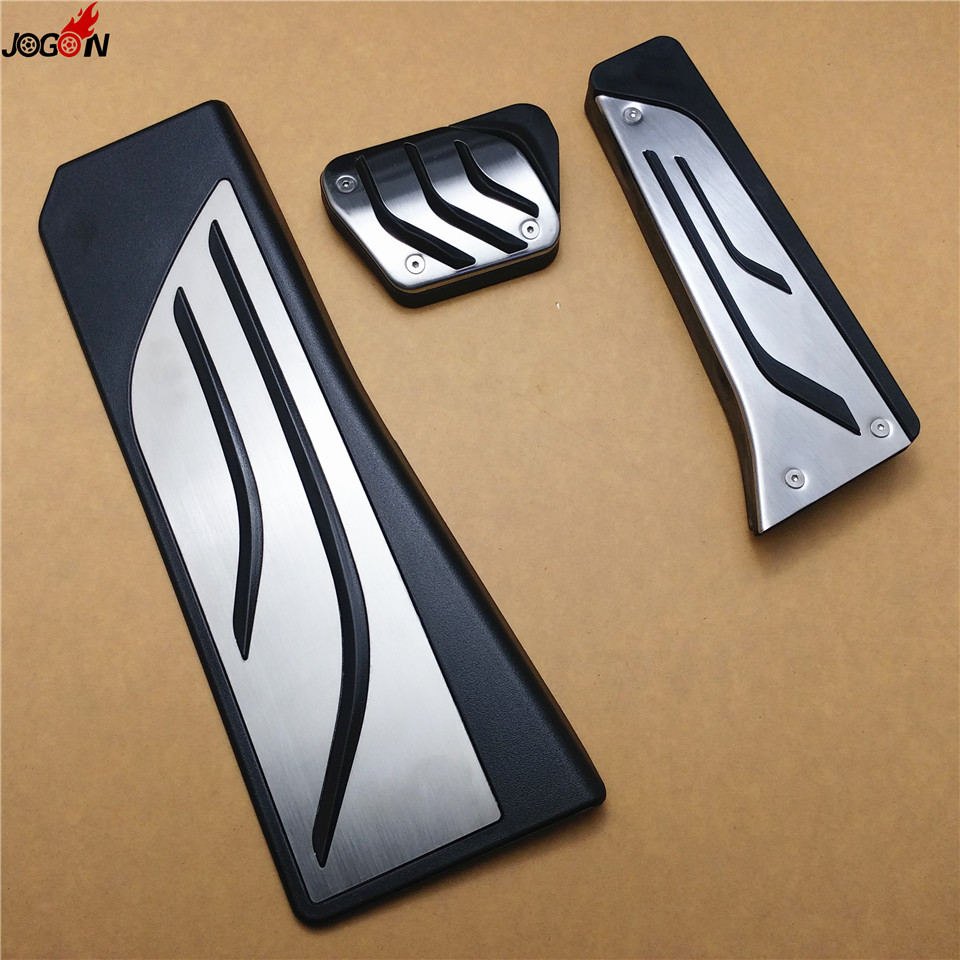 Gas Fuel Brake Footrest Foot Pedal Plate Pad Trim For BMW 5 Series F10 7 Series E65 F01 F02 730Li 740i/Li 750i/Li 760i AT & MT 2pcs white daytime running lights drl led fog lamp for bmw 7 series f01 f02 730i 740i 750i 760i 2009 2012