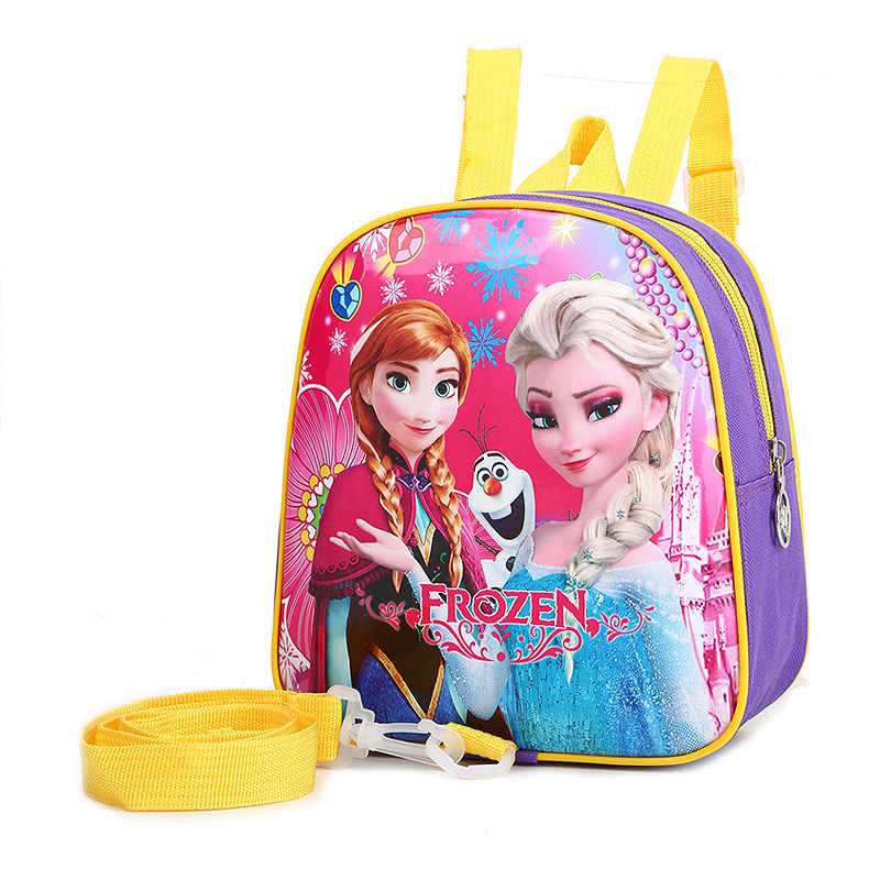Disney princess Children's backpack kindergarten anti-lost backpack Frozen Elsa baby handbag girl boy bag cartoon bag school