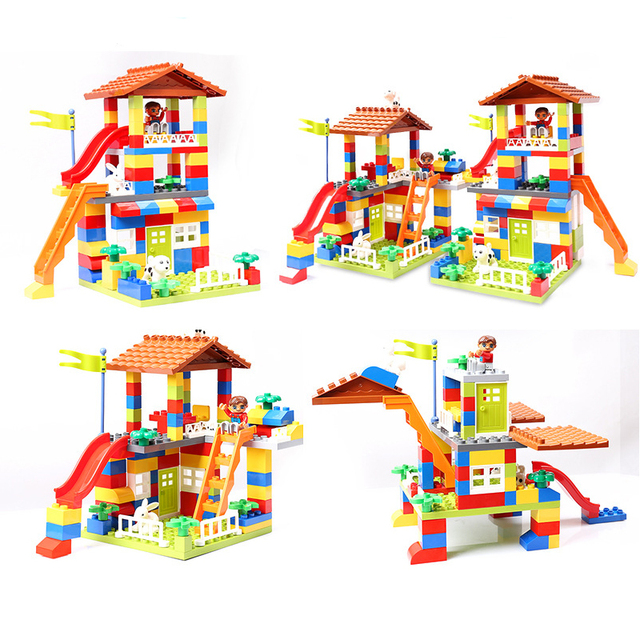 Big Size Slide Blocks City House Roof Big Particle Building Blocks Compatible DuploINGlys Castle Educational Toy For Children