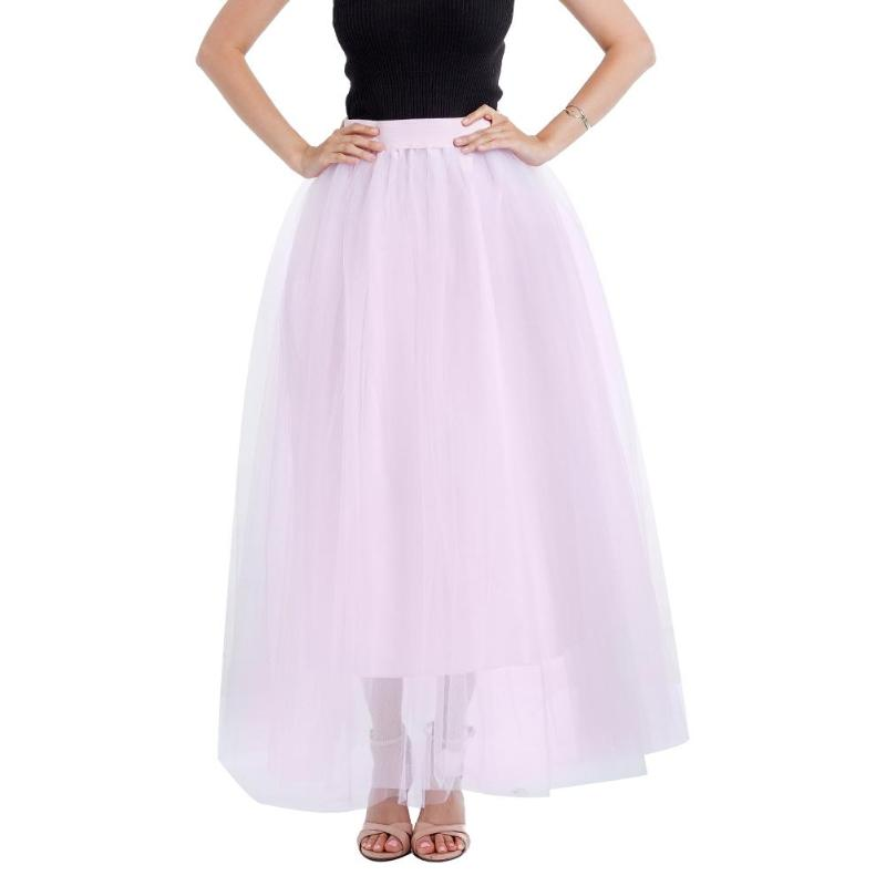 fdc0fe116 2019 2018 Maxi Skirts Women Lace Princess Fairy Style Layers Voile ...