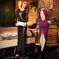 Сексуальные Женщины Ночной Клуб Платье Черный Фиолетовый Тощий Сетки Лоскутная Ночь Платье Sheatch Пят О-Образным Вырезом Рубашки