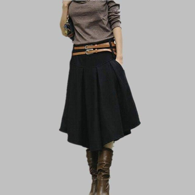 e8b537db9 € 24.03 10% de DESCUENTO|2019 moda Primavera Otoño Invierno falda de lana  Maxi falda de cintura alta plisada falda elegante delgada Casual negro ...