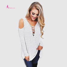 Summer Blouse 2017 Women Shirt Tops Asymmetry Fashion Full Sleeve Black And White Striped Women Blouse Casual Shirt