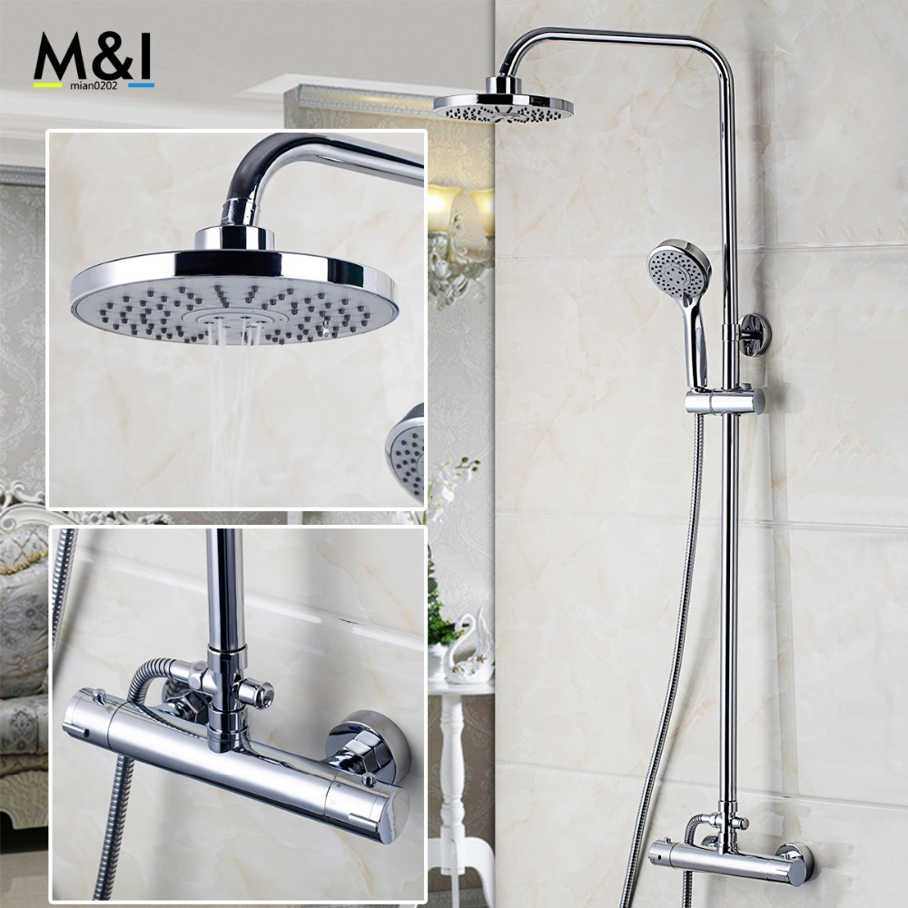 Bathroom Wall Mounted Plished Chrome Contemporary Bathtub Thermostatic Mixer Valve 53973 Rainfall Handheld Shower Head Sets wall mounted two handle auto thermostatic control shower mixer thermostatic faucet shower taps chrome finish