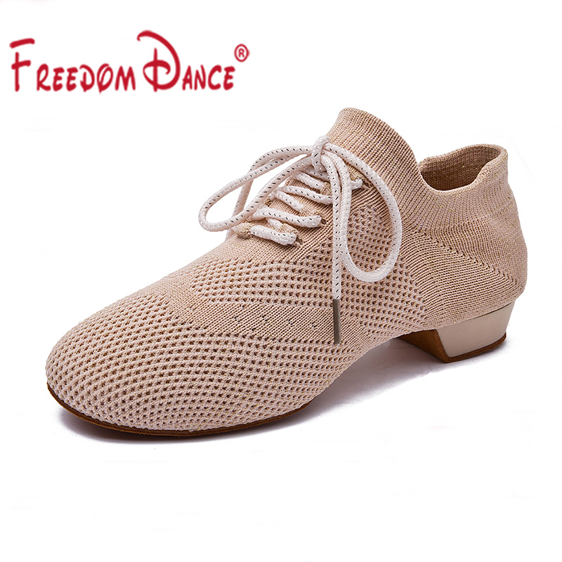 Latin Dance Shoes Woman 2019 Integral Fly Knitting Breathable Fabric Ballroom Jazz Dance Sneakers Summer Sport Shoes Men