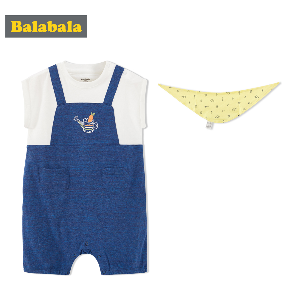 Balabala Newborn Baby Girls Boy outfits rompers 100% cotton high comfort Romper Short Sleeve Jumpsuit Cute Baby Clothes 3pcs set newborn infant baby boy girl clothes 2017 summer short sleeve leopard floral romper bodysuit headband shoes outfits