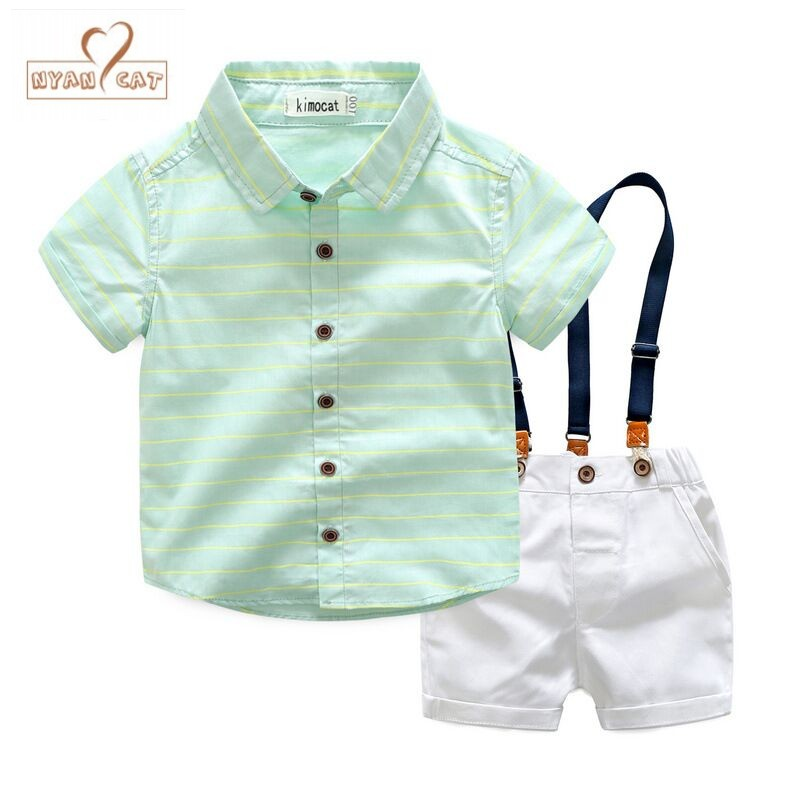 Free Ship Wholesale New Boys Summer Clothes Stripe Shirt + Suspender Pants 2pc Suit Baby Boys Wear Kids Outfit Summer Clothes