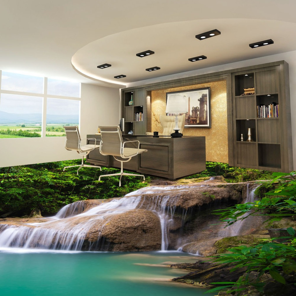 Newest dot design drawing 3d room wallpaper HD natural waterfall