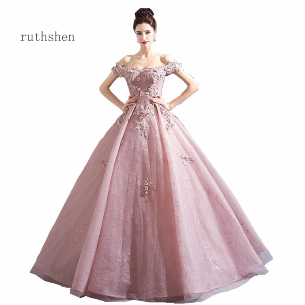 ruthshen Luxury 2018 Sweet 16 Teens Prom Dresses Floor Length New Appliques Party Gown Evening Dress