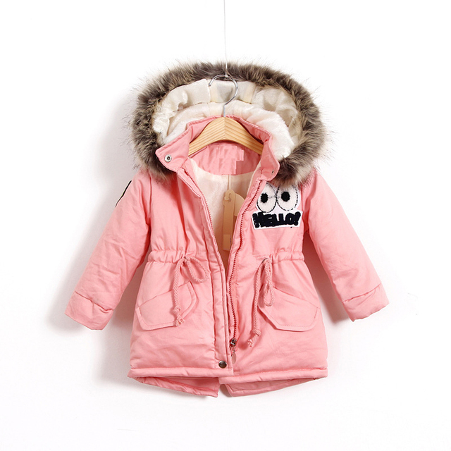 0ec217434cf3 2018 Winter Cotton Padded Hooded jacket for Girls thick warm ...
