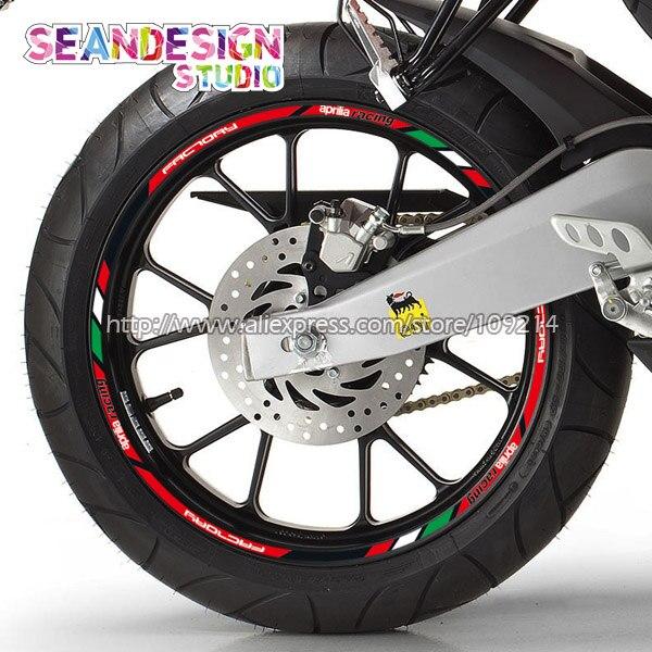 For Aprilia Racing Aprilia Factory RS4 RS125 Tuono Caponord RSV4 Motorcycle Wheel Sticker Decal Reflective Rim