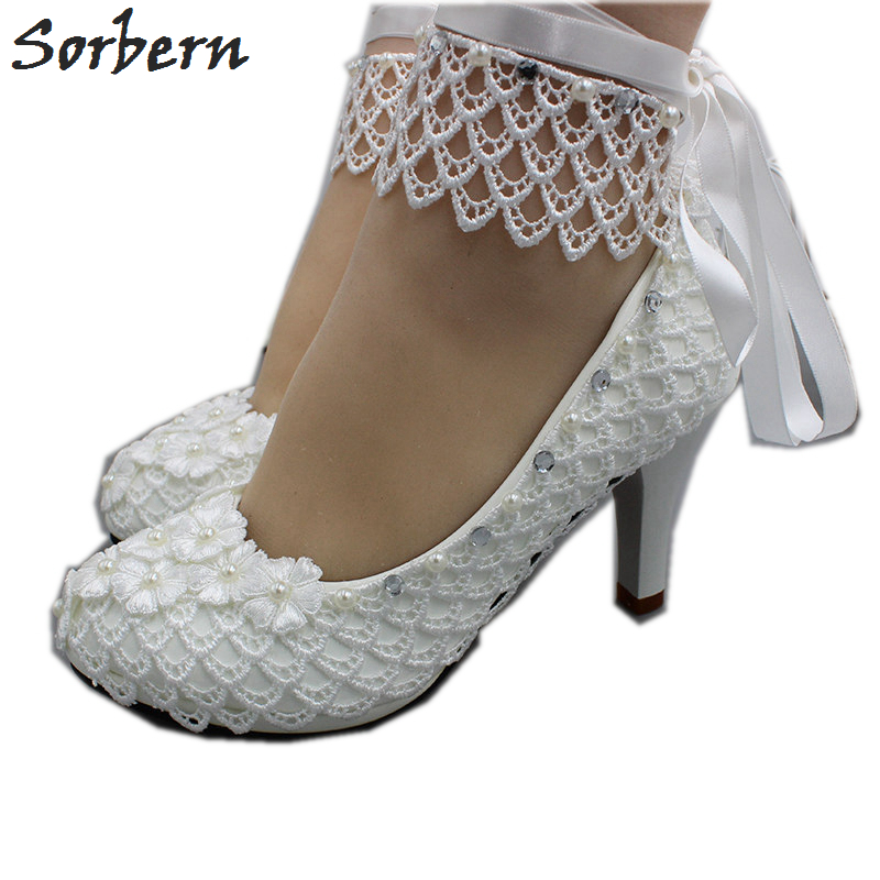 Sorbern Sexy Fishing Net Lace Wedding Shoes Kitten Heels Pumps Bridesmaid Shoe Beads Sparked Ribbon Ankle