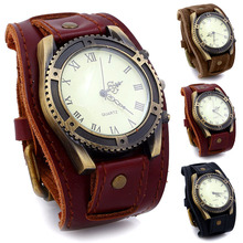 Men Watches Punk Vintage Cow Leather Wristwatch Roman Number