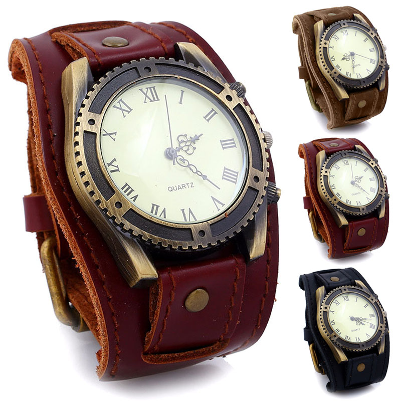 Men Watches Punk Vintage Cow Leather Wristwatch Roman Numbers Dial Casual Watch Gift LL@17