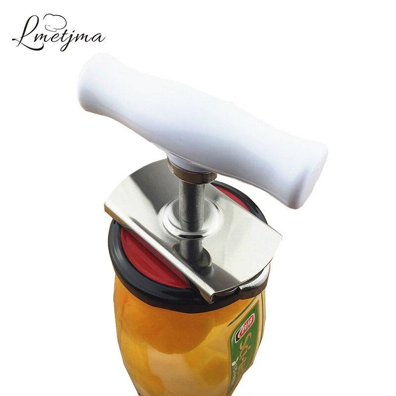 LMETJMA Adjustable Can Opener Stainless Steel Manual Can Opener Whirl The Capsule Beer Bottle Opener Easy
